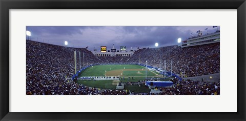 Framed Spectators watching baseball match, Los Angeles Dodgers, Los Angeles Memorial Coliseum, Los Angeles, California Print