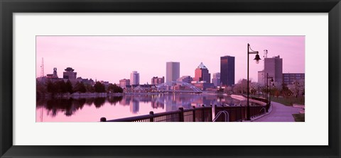 Framed Buildings at the waterfront, Genesee, Rochester, Monroe County, New York State Print