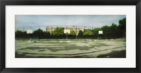 Framed Basketball court in a public park, McCarran Park, Greenpoint, Brooklyn, New York City, New York State, USA Print