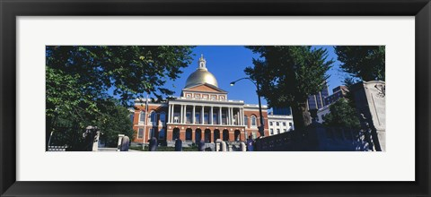 Framed Facade of a government building, Massachusetts State Capitol, Boston, Suffolk County, Massachusetts, USA Print