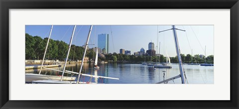 Framed Sailboats in a river with city in the background, Charles River, Back Bay, Boston, Suffolk County, Massachusetts, USA Print