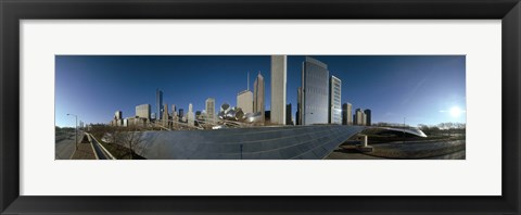 Framed 360 degree view of a city, Millennium Park, Jay Pritzker Pavilion, Lake Shore Drive, Chicago, Cook County, Illinois, USA Print