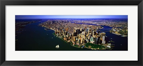 Framed Aerial view of lower Manhattern, New York City, New York State, USA Print