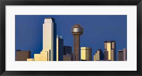 Framed Skyline View with Reunion Tower, Dallas TX Print