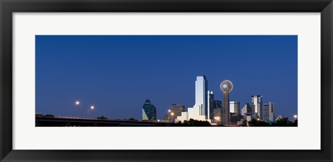 Framed Nighttime View of Dallas Skyline with Reunion Tower Print