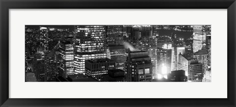 Framed Aerial view of a city at night, Midtown Manhattan, Manhattan, New York City, New York State, USA Print
