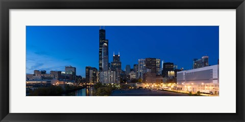 Framed Buildings in a city lit up at dusk, Chicago, Illinois, USA Print