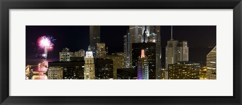 Framed Skyscrapers and firework display in a city at night, Lake Michigan, Chicago, Illinois, USA Print