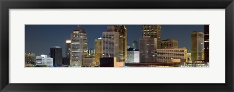 Framed Buildings in a city lit up at night, Detroit River, Detroit, Michigan Print