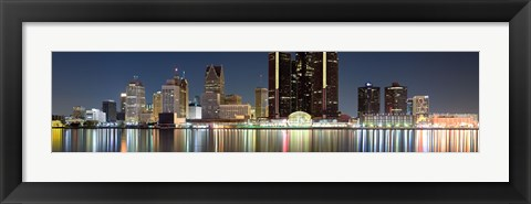 Framed Buildings along the Detroit River, Detroit, Michigan Print