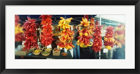 Framed Strands of chili peppers hanging in a market stall, Pike Place Market, Seattle, King County, Washington State, USA Print