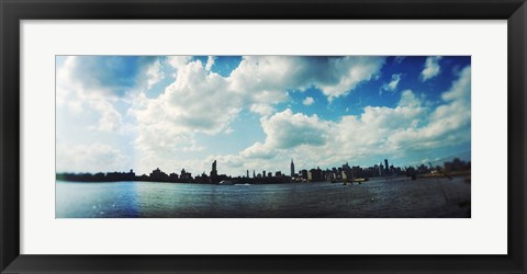 Framed Manhattan skyline viewed from East River Park, East River, Williamsburg, Brooklyn, New York City, New York State, USA Print