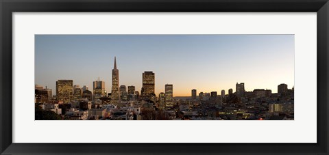Framed Buildings lit up at dusk, Telegraph Hill, San Francisco, California, USA Print