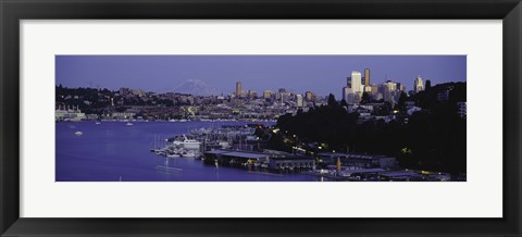 Framed City skyline at the lakeside with Mt Rainier in the background, Lake Union, Seattle, King County, Washington State, USA Print