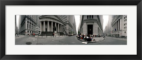 Framed 360 degree view of buildings, Wall Street, Manhattan, New York City, New York State, USA Print