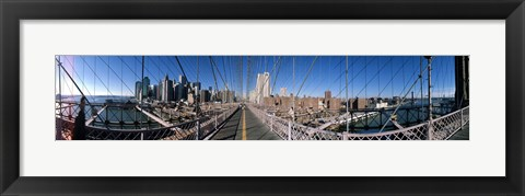 Framed Looking Down the Brooklyn Bridge Print