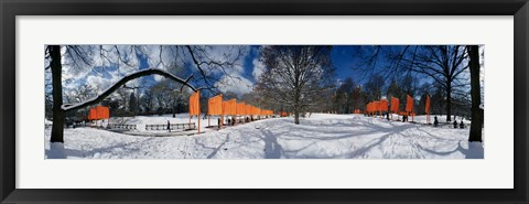 Framed 360 degree view of gates in an urban park, The Gates, Central Park, Manhattan, New York City, New York State, USA Print