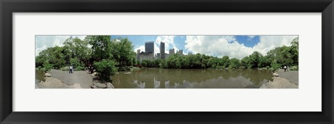 Framed 360 degree view of a pond in an urban park, Central Park, Manhattan, New York City, New York State, USA Print