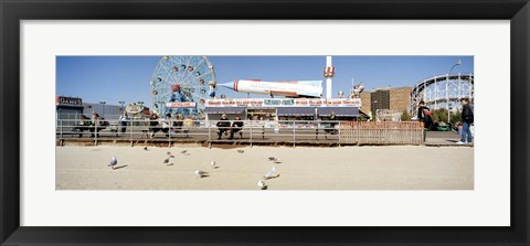 Framed Tourists at an amusement park, Coney Island, Brooklyn, New York City, New York State, USA Print