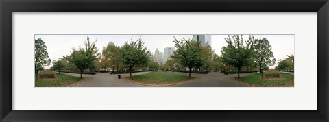 Framed 360 degree view of a public park, Battery Park, Manhattan, New York City, New York State, USA Print