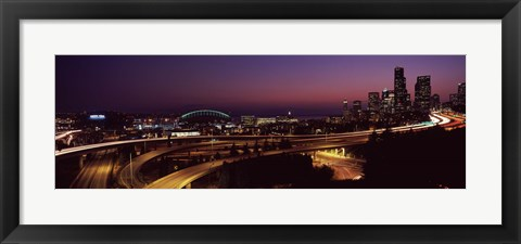 Framed City lit up at night, Seattle, King County, Washington State, USA 2010 Print