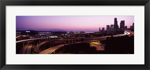 Framed City lit up at dusk, Seattle, King County, Washington State, USA 2010 Print
