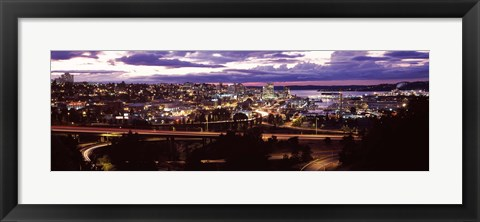 Framed Aerial view of a city, Tacoma, Pierce County, Washington State, USA 2010 Print