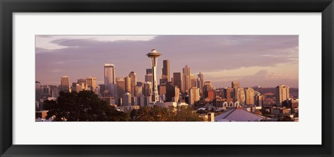 Framed Seattle skyline, King County, Washington State, USA 2010 Print