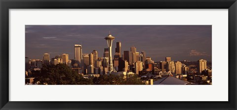 Framed Seattle skyline at dusk, King County, Washington State, USA 2010 Print