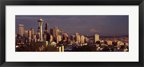 Framed View of Space Needle and surrounding buildings, Seattle, King County, Washington State, USA 2010 Print