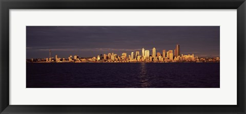 Framed City viewed from Alki Beach, Seattle, King County, Washington State, USA Print