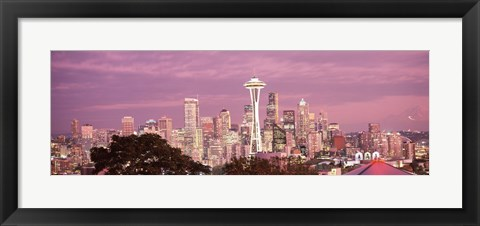 Framed Night view of Seattle, King County, Washington State, USA 2010 Print