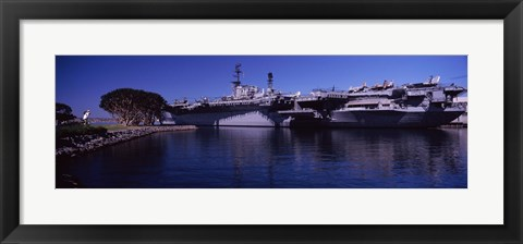 Framed Aircraft carriers at a museum, San Diego Aircraft Carrier Museum, San Diego, California, USA Print