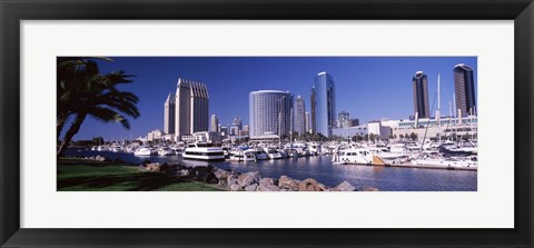 Framed Boats in a Harbor, San Diego, California Print
