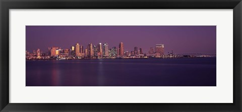 Framed San Diego with Purple Sky as Seen from the Water Print