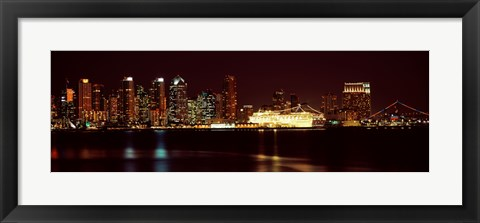 Framed San Diego Skyline at Night Print