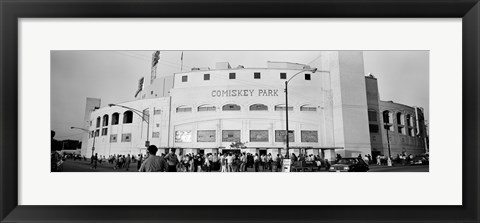 Framed People outside a baseball park, old Comiskey Park, Chicago, Cook County, Illinois, USA Print