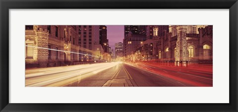 Framed Michigan Avenue at Dusk, Chicago, Illinois Print