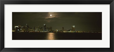 Framed Skyscrapers lit up at night, Coronado Bridge, San Diego, California, USA Print
