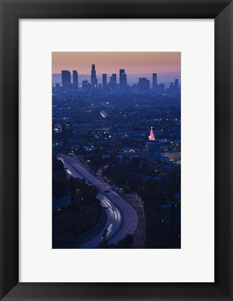 Framed High angle view of highway 101 at dawn, Hollywood Freeway, Hollywood, Los Angeles, California, USA Print