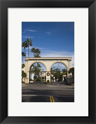 Framed Entrance gate to a studio, Paramount Studios, Melrose Avenue, Hollywood, Los Angeles, California, USA Print