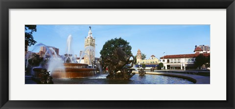 Framed Fountain at Country Club Plaza, Kansas City, Missouri Print