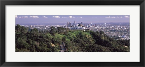 Framed Griffith Park Observatory and Los Angeles in the background, California Print
