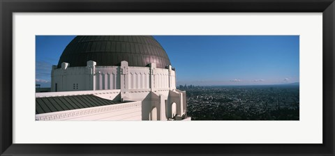 Framed Observatory with cityscape in the background, Griffith Park Observatory, Los Angeles, California, USA 2010 Print