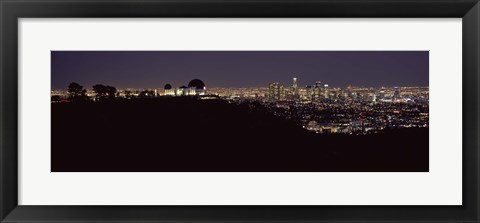 Framed City lit up at night, Griffith Park Observatory, Los Angeles, California, USA 2010 Print