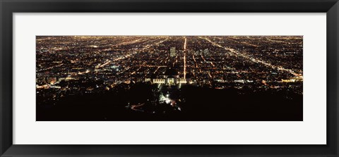 Framed Aerial view of a cityscape, Griffith Park Observatory, Los Angeles, California, USA Print