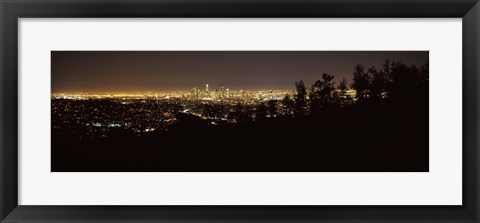 Framed Los Angeles, California Cityscape at Night Print