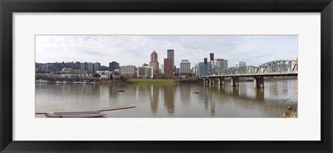 Framed Buildings at the waterfront, Willamette River, Portland, Multnomah County, Oregon, USA 2010 Print