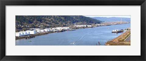 Framed High angle view of a river, Willamette River, Portland, Multnomah County, Oregon, USA Print