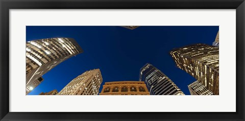 Framed Low angle view of high-rise buildings at dusk, San Francisco, California, USA Print